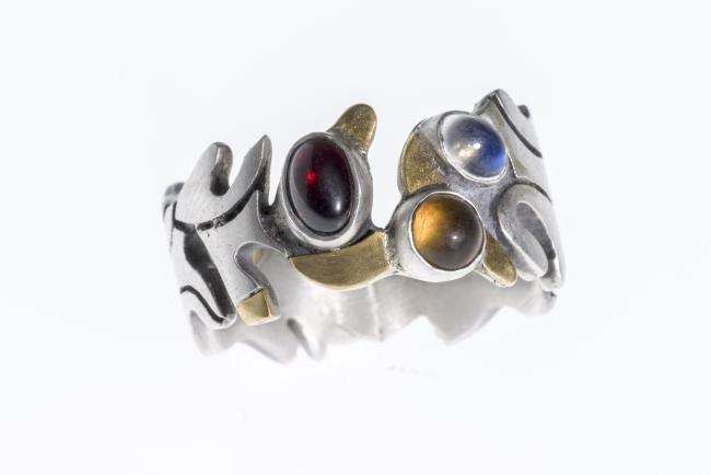 Ring Silber, Gold, Granat. Mondstein, Citrin